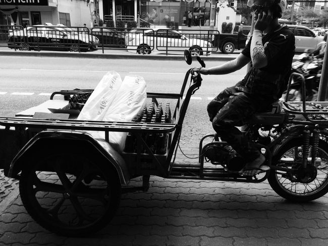 Freight Transportation Freight Car Carrying Carriercar Cargobike Boxbike Tricycle c Man Asianman Asianstreets Light And Shadow Blackandwhite Streetphotography Telephone Oncall Talking
