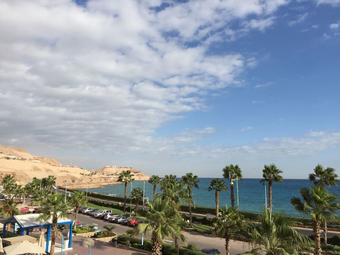 EyeEmNewHere Egypt Egyptian Ein Sokhna Egypt Sky Cloud - Sky Sea Red Sea Nature Palm Trees Cars Mountain Outdoors Travel Destinations Visit Egypt Beauty In Nature Blue Yellow Leisure Activity Vacations Horizon Over Water