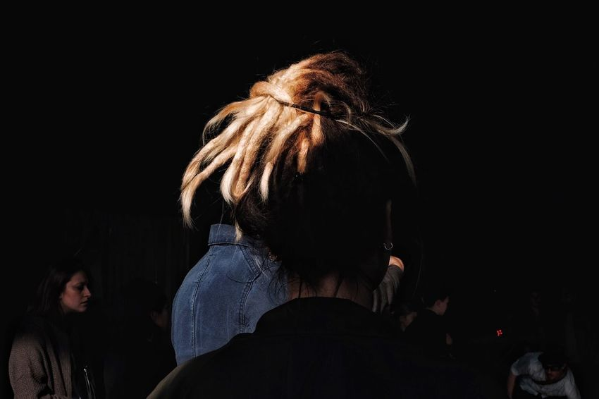 Real People Rear View Lifestyles Black Background People Streetfashion Color Photography Streetphotographer Colors Streetphoto Street Life Women Dreadlocks