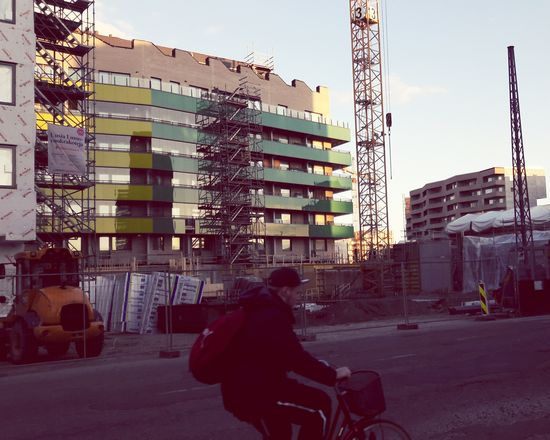 Urban Architecture Construction Site Streetphotography Bike Rider Bicycle Colors Helsinki The Architect - 2017 EyeEm Awards