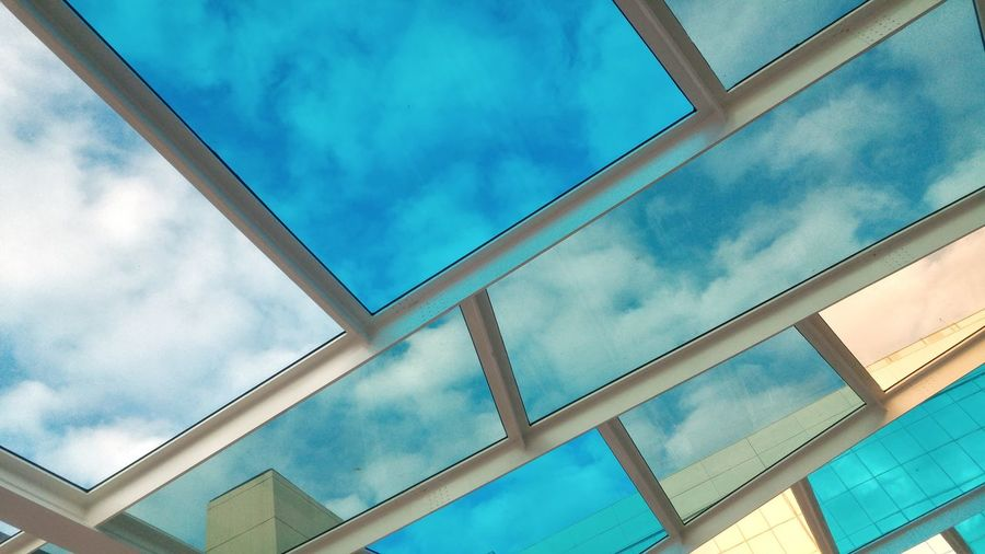 Ceiling Cloud - Sky Architecture Pattern Low Angle View Day Sky Outdoors Built Structure No People Mosaic Glass Colors Design Barcelona Abstract Background Catalonia Street City Diagonal Lines