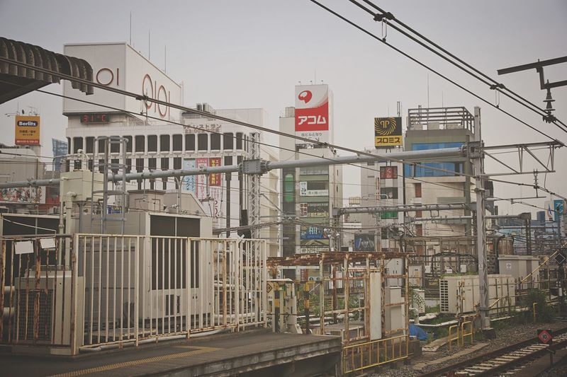Railroad tracks in city