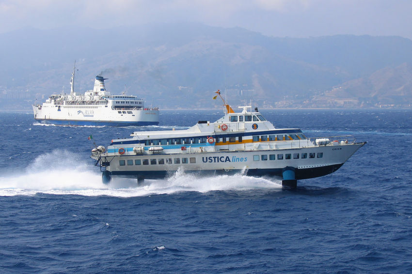 Bluvia Ferry Ferryboat Villa San Giovanni Craft Cruise Ship Hydrofoil Leaving Messina Mode Of Transportation Nature Nautical Vessel Passenger Craft Sea Ship Shipping  Sky Stretto Di Messina Transportation Travel Ustica Lines Water