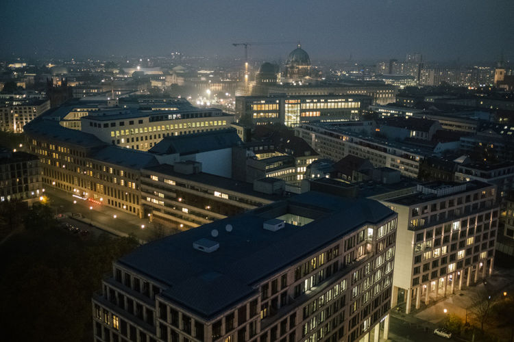 Berlin Aerial View City Berlin Berliner Ansichten Building Exterior Built Structure Architecture No People Building Outdoors Cityscape Night Illuminated High Angle View Sky Residential District Nature Travel Destinations City Life Dusk