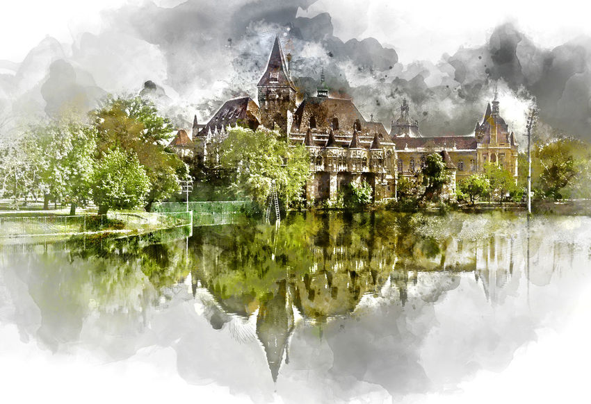 Digital watercolor painting of a Vajdahunyad castle, view from lakeside. Budapest, Hungary Budapest Budapest, Hungary Digital Watercolor Digital Watercolor Painting Hungary Trees Vajdahunyad Castle Watercolour Altered Architecture Built Structure Digital Art Digital Illustration Digital Painting Digitally Altered Digitally Generated Digitally Generated Image Illustration Outdoors Reflection Springtime Sunny Day Water Watercolor Watercolor Painting