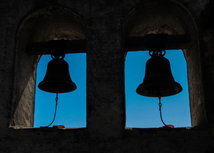 18th Century Mission Bell San Juan Capistrano San Juan Capistrano Mission Silhouette Blue Sky Low Angle View No People Two Bells