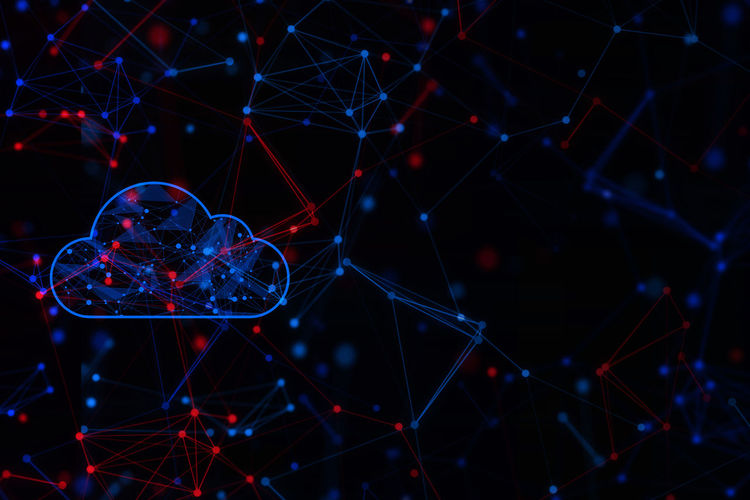 Digital composite image of cloud with networking against black background
