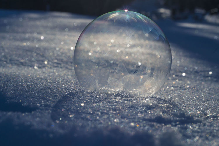 Close-up of bubbles on crystal ball