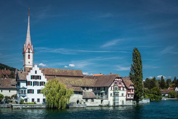 View of the historic centre of  stein am rhein, canton of schaffhausen, switzerland, europe