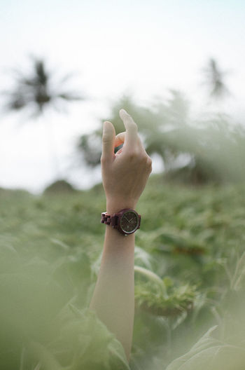 Cropped Hand Of Woman With Wristwatch Amidst Plants