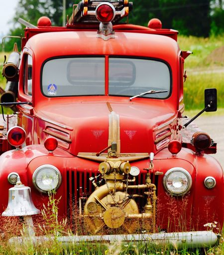 Antique Mike Stouffer TheSixthLens Close-up Day Fire Engine Firetruck Grass Land Vehicle No People Outdoors Red Transportation