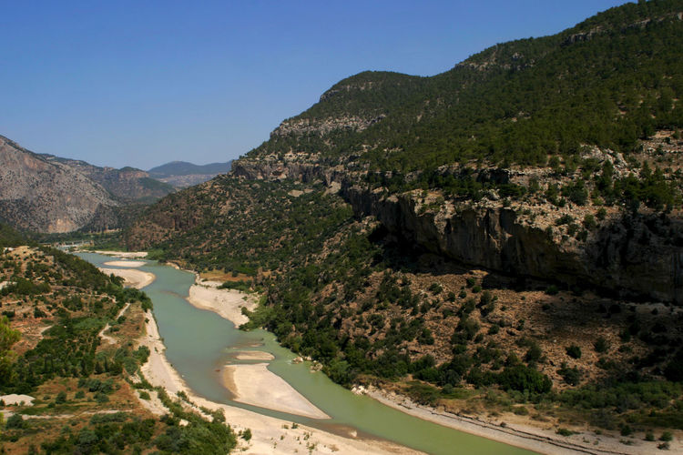 Scenic View Of River And Mountains Against Clear Sky