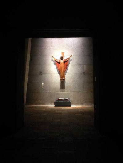 Art Church Illuminated Jesus No People Oratorium Sculpture Silence