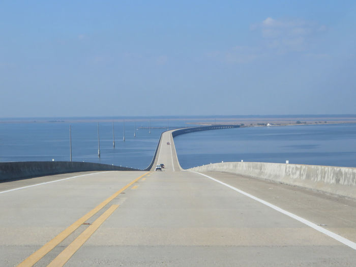 Alabama Alabama Gulf Coast Bridge Over Water Gulf Of Mexico Highway Long Long Bridge Road Sea Vanishing Point