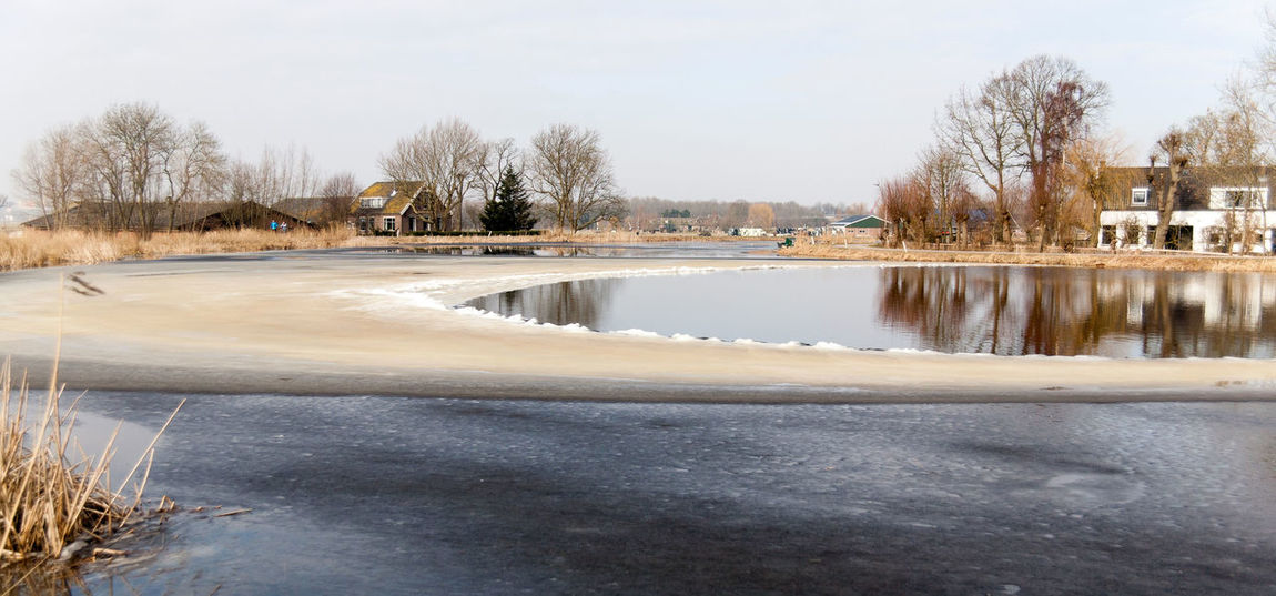 Farm Ice Nature Winter Day Dike Holland Holland Scene Nature No People Outdoors Water Waver Windwak