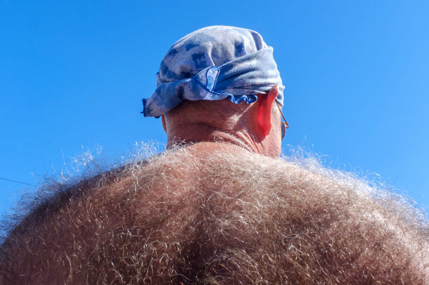 Streetphotography Street Photography Hair Hairy  Back Shirtless Sky Pride Blue One Person One Man Only Adult People