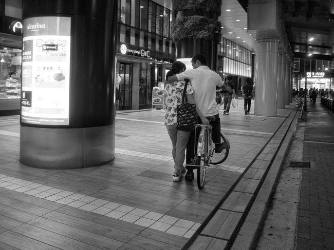Real People Rear View City City Life Bicycle Couple Couple - Relationship Illuminated Snapshot CityWalk Nightphotography Nightshot B&w Street Photography Streetphotography_bw On The Road Kichijoji 吉祥寺 Tokyo Japan