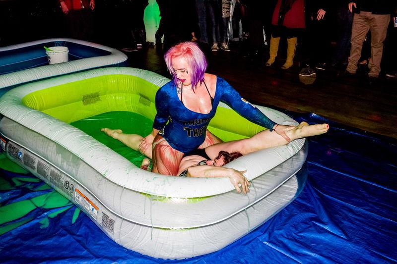 Mud Wrestling Pink Hair Sexygirl Slime Wrestling
