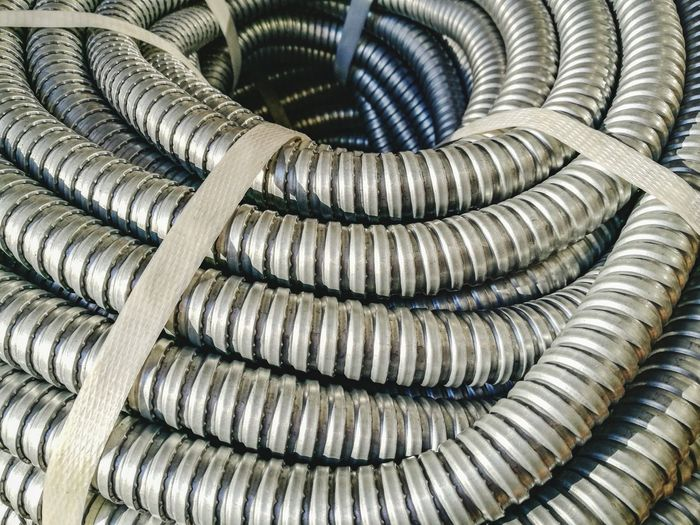 Full frame shot of spiral pipes