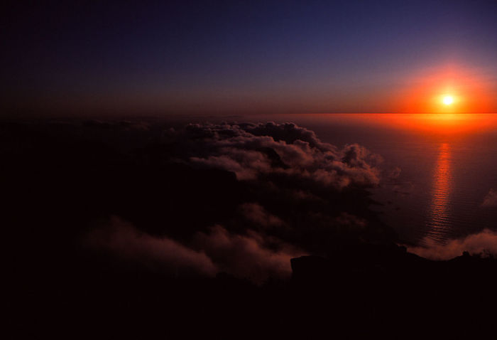 Aerial View Atmosphere Beauty In Nature Cloud - Sky Cloudscape Dark Horizon Idyllic Nature Night No People Outdoors Scenics - Nature Sea Sky Space Sunset Tranquil Scene Tranquility Water