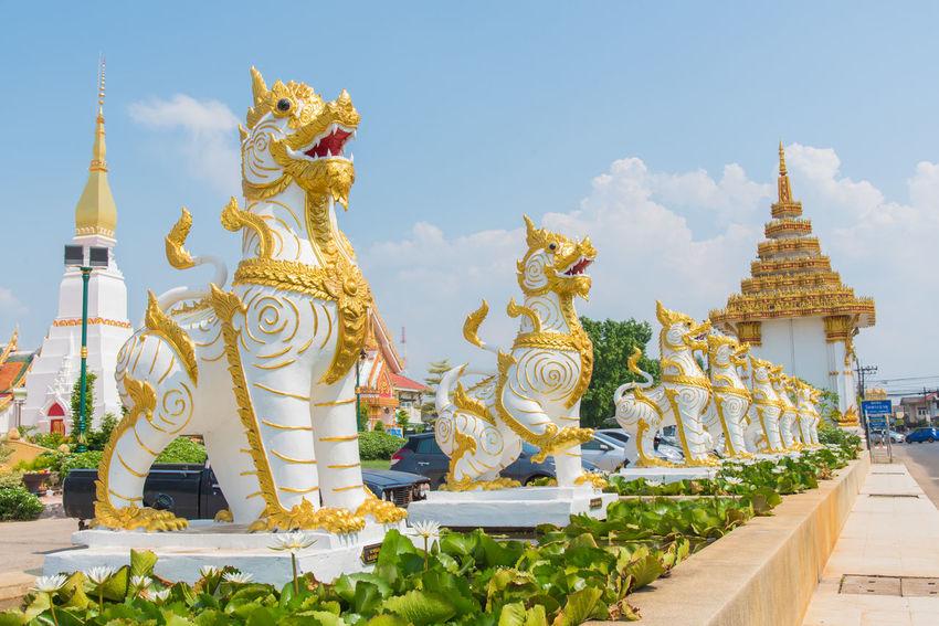 Architecture Gold Colored Landscape Lion Statue Religion Sakonnakhon SakonNakhon ,Thailand Statue Statue Temple Temple In Thailand Tourism Tradition Travel