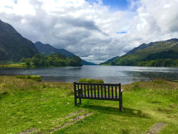 Lakeview Bench Relaxing Idyllic Scenery Sunshine Beautiful Clouds And Sky Scottish Highlands Scotland Quiet Moments Breathtaking Mountain Water Cloud - Sky Sky Lake Beauty In Nature Plant Tranquil Scene No People Mountain Range Scenics - Nature Green Color Tranquility Idyllic Grass Nature Day Seat Outdoors