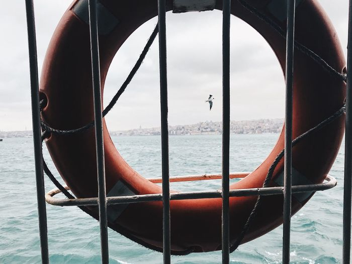 Close-up of life belt on railing against sea