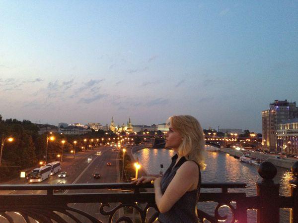 москва #russia вечер мост река город столица Закат прогулка