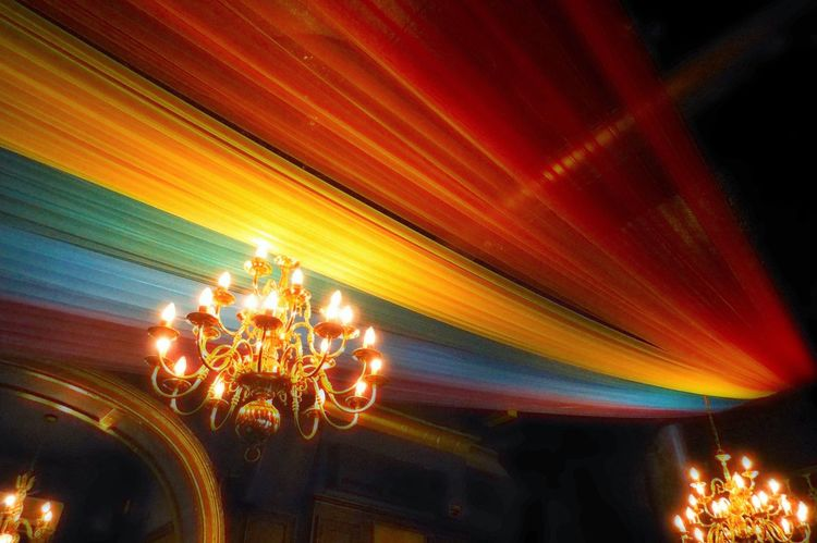 Chandelier Decor Decoration Design Electric Light Gay Gaybar Gaypride Glowing Illuminated Light Lighting Equipment Lit Low Angle View Multi Colored Night No People Orange Color Ornate Rainbow Colours Rainbowflag Speed