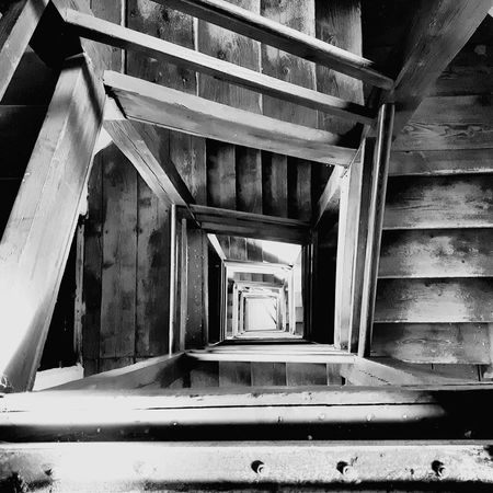 Downward spiral Architecture Built Structure No People Steps And Staircases Staircase Day Staircases Stairway Stairways Stairs Spiral Down Downward Downwards Timber Stairs Blackandwhite Black And White Bnw Stair Indoors  Dark Darkness Stairs Stairs Geometry Stairs_collection Welcome To Black Black And White Friday