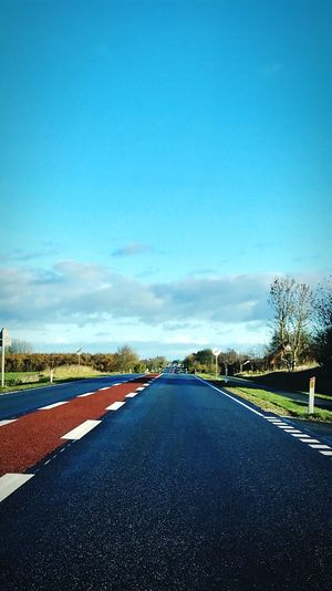 Scandinavian Sommer Road Road Sky The Way Forward Direction Transportation Nature Blue Sign No People Day Cloud - Sky Empty Road Plant Tree Road Marking City Marking