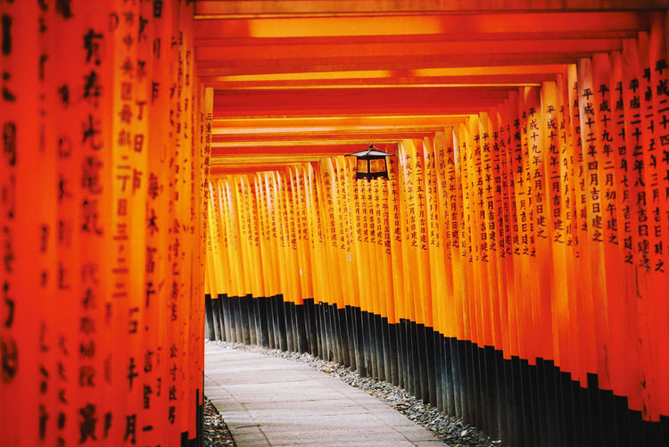 Arcade Of Torii In Fushimi Inari Shrine