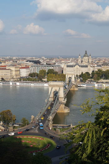 High angle view of szechenyi chain bridge over river in city