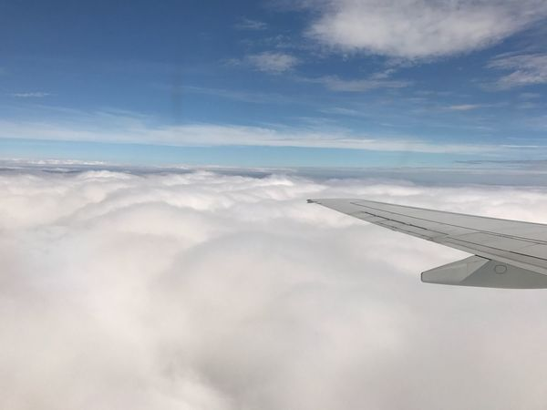 Airplane Sky Cloud - Sky Journey Airplane Wing Transportation Nature Travel Aerial View Scenics Beauty In Nature Cloudscape No People Day Air Vehicle Flying Blue Outdoors Mode Of Transport Tranquility