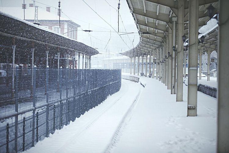 Railroad tracks during winter