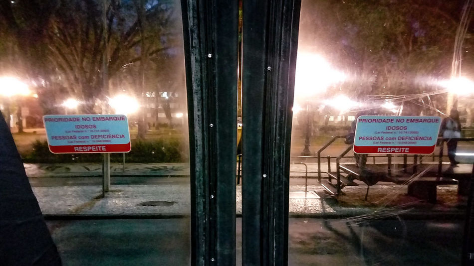 EyeEmNewHere No People Night Brazil Cwb Cwb City Bus Stop Outdoors Text Communication Road Sky Water Doors Photography Public Space