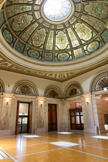 The world's largest Tiffany Glass dome at the Chicago Cultural Center Architecture Built Structure Ceiling Chicago Chicago Cultural Center Day Dome Indoors  Leadlight Leadlight Window Low Angle View No People No People, Stained Glass Tiffany Tiffany Glass Window