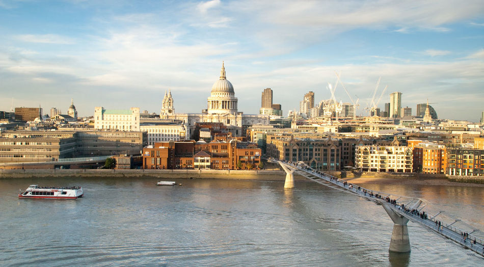 Architecture Bridge - Man Made Structure Building Exterior Built Structure City Cityscape Cloud - Sky Connection Cultures Day Millenium Bridge Nautical Vessel No People Outdoors River Saint Paul´s Cathedral St. Paul's Cathedral Sky Tourboat Tower Transportation Travel Travel Destinations Urban Skyline Water Postcode Postcards EyeEmNewHere