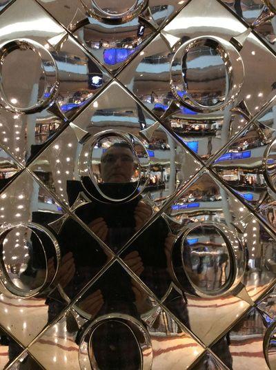 Petronas Twin Towers shopping mall Reflective Shop Window selfie mirror image Blue Lights