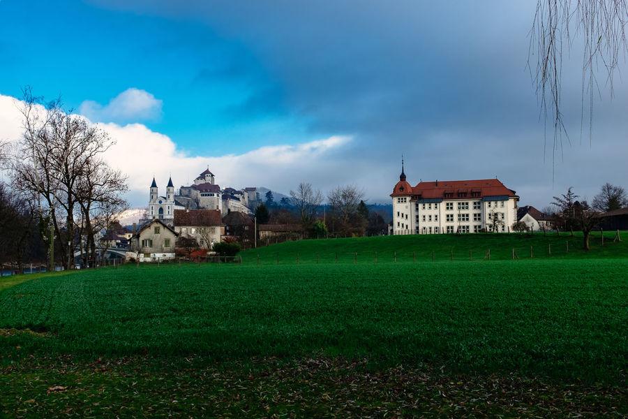 Aarburg Aare Aargau Brigde Castle House River Switzerland