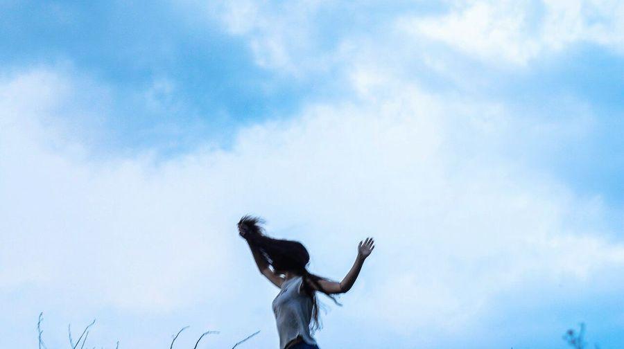 Girl Wind Beautiful Creativity Blue Sky Blue Sky
