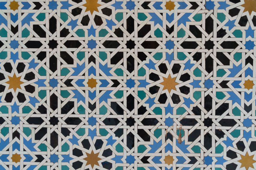 Alcazar Palace Detail Art And Craft Backgrounds Blue Close-up Creativity Design Flooring Floral Pattern Full Frame Indoors  Multi Colored No People Pattern Repetition Shape Textured  Tile Tiled Floor Wall - Building Feature Wallpaper White Color