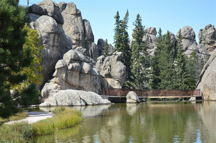 Lake Rock Rocks Bridge Path Trees South Dakota Sylvan Lake