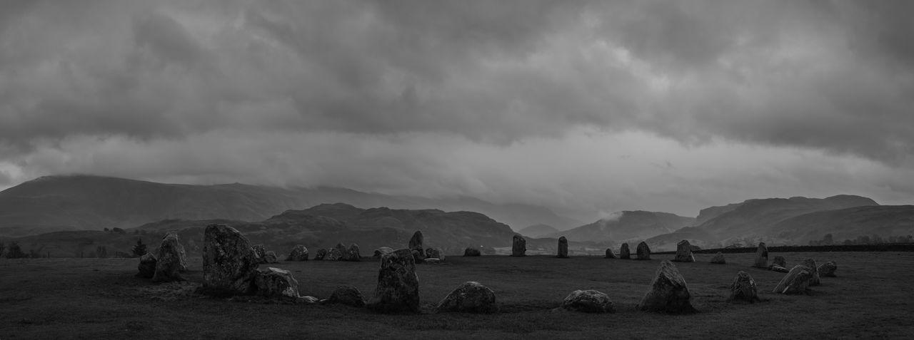 Prehistoric stone circle near Keswick in the Lake District Cumbria UK Black And White Blackandwhite Lake District Landscape Mountains Neolithic Panorama Prehistory Stone Circle