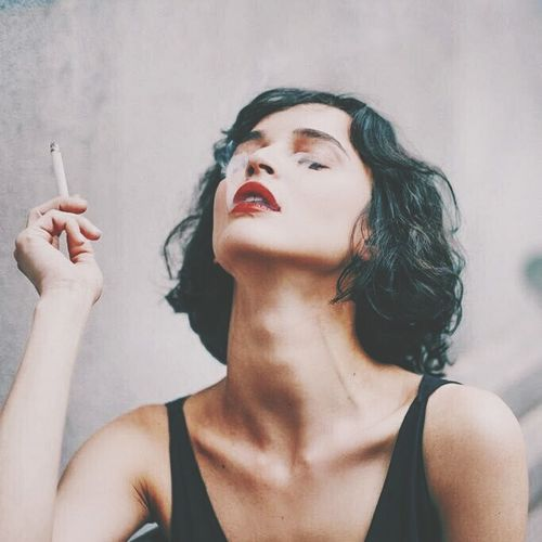 Smoking One Woman Only Only Women Beautiful Woman Beautiful People Beauty Adults Only One Person Adult One Young Woman Only Young Adult People Human Body Part Close-up Women Indoors  Day