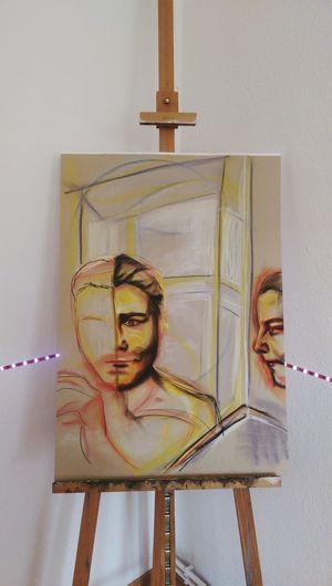 Unfinished Selfportrait Drawing Portrait Painting Colorful Color Portrait Faces Art, Drawing, Creativity Kopf