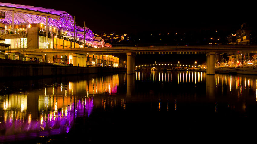 City Architecture Bridge - Man Made Structure Building Exterior Built Structure Illuminated Night No People Outdoors Reflection River Sky Town Water Waterfront