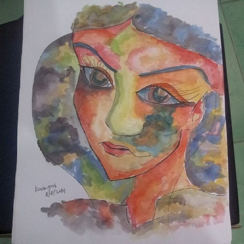 8th installment ;p what do you think of this piece? Watercolor Fauve Fauvism Pinoy filipinoartist kevoartist lady colorful amateur artwork art painting paint