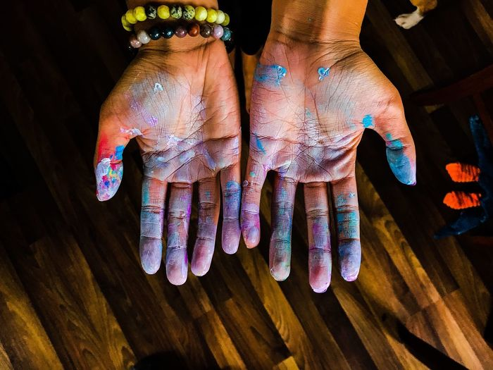 Close-up of colorful hands