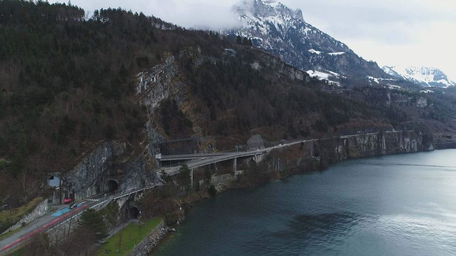 Dji Phantom 4 Pro+ EyeEm Nature Lover 🎈👻 Schweiz Switzerland Natur Nature Photography Drone  Drohne Mountain Nature Bridge - Man Made Structure Connection Water Beauty In Nature Day River Architecture Outdoors Landscape Sky
